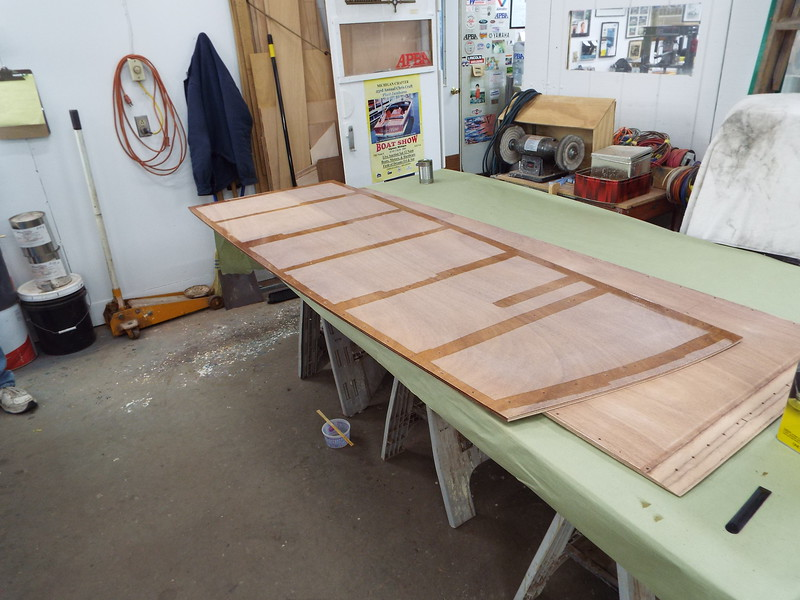 Bottom skin with epoxy applied ready to attach to the new frames.