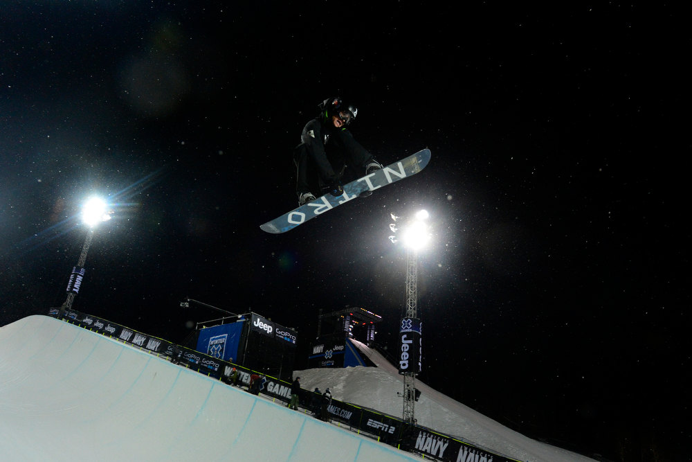 . ASPEN, CO. - JANUARY 24:  Nathan Johnstone gets air during the Men\'s snowboard SuperPipe practice at the 2013 Aspen X Games on Buttermilk Mountain on January 24, 2013. (Photo By Mahala Gaylord / The Denver Post)
