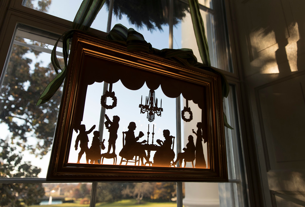 . A window in the Green room is seen during a media preview of the 2017 holiday decorations at the White House in Washington, Monday, Nov. 27, 2017. (AP Photo/Carolyn Kaster)