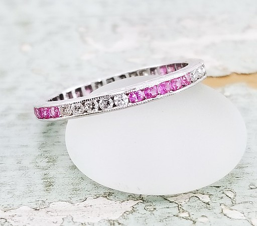 Vintage Diamond and Pink Sapphire Eternity Band