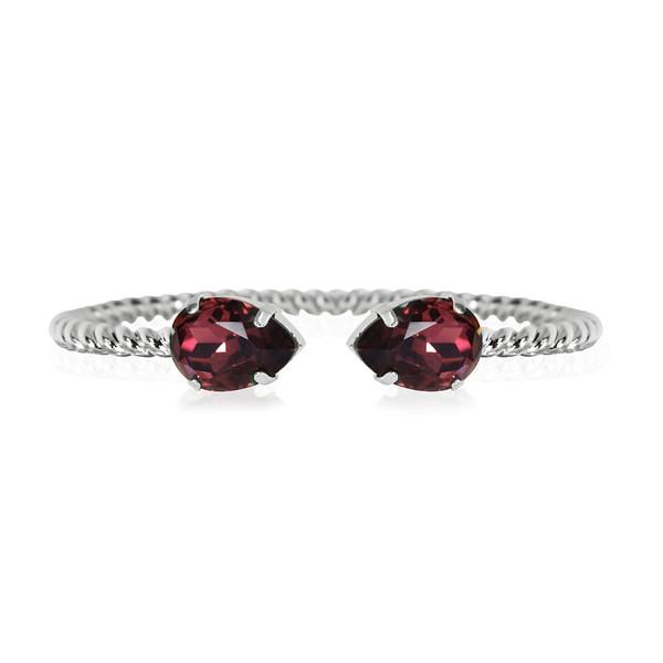 Mini Drop bracelet / Burgundy / Rhodium