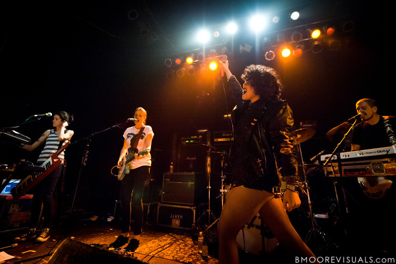 Ana Rezende, Carolina Parra, Lovefoxxx, and Adriano Cintra of CSS perform at State Theatre in St. Petersburg, Florida on April 29, 2011