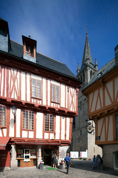 Henry IV Square with Saint Pierre Cathedral on the background, Vannes, department of Morbihan, region of Brittany, France