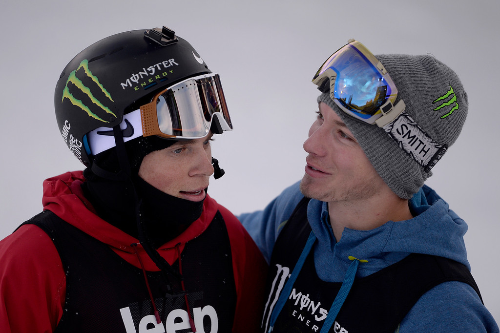 . ASPEN, CO - JANUARY 25: Gus Kenworthy (left) and David Wise (right) hug during the men\'s ski half pipe final. Winter X Games on Sunday, January 25, 2015. (Photo by AAron Ontiveroz/The Denver Post)