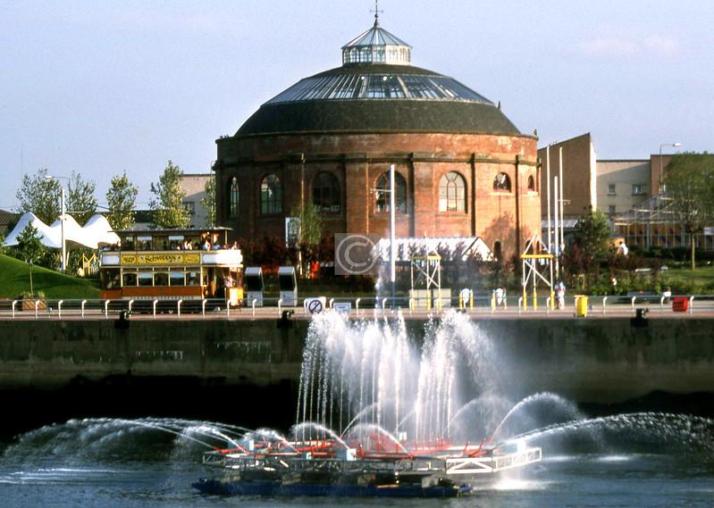 Fireboat, tram, south rotunda, Glasgow Garden Festival.    August 1988