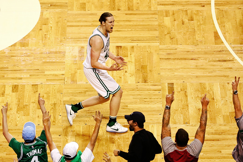 Kelly Olynyk #41 of the Boston Celtics reacts after hitting a three-pointer against the Washington Wizards during Game Seven of the NBA Eastern Conference Semi-Finals at TD Garden on May 15, 2017 in Boston, Massachusetts.