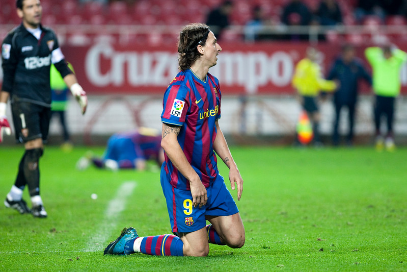 Ibrahimovic regretting a missed chance. Spanish Cup game between Sevilla FC and FC Barcelona, Ramon Sanchez Pizjuan stadium, Seville, Spain, 13 January 2010
