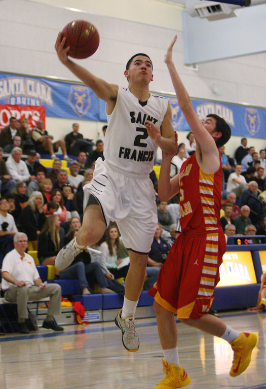 . St. Francis\' Brycen Carbonel shoots in the second quarter during the CCS Division II boys basketball finals at Santa Clara High School in Santa Clara, Calif. on Friday, March 1, 2013. The Saint Francis Lancers played the Willow Glen Rams. (Jim Gensheimer/Staff)
