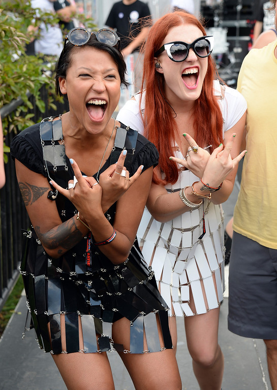 . CHICAGO, IL - AUGUST 02:  Aino Jawo and Caroline Hjelt of Icona Pop pose backstage during Lollapalooza 2013 at Grant Park on August 2, 2013 in Chicago, Illinois.  (Photo by Theo Wargo/Getty Images)