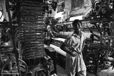 Boy in towel factory