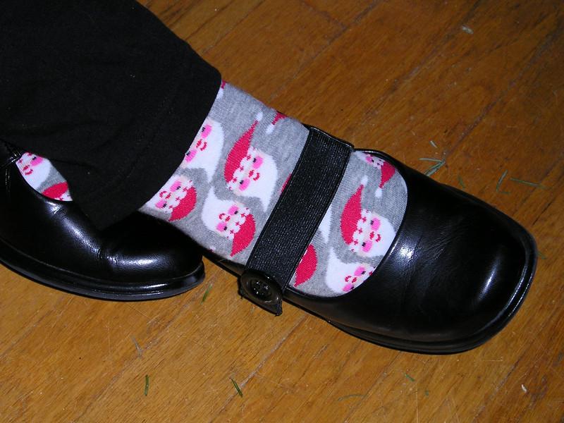 Sally's cool santa socks.