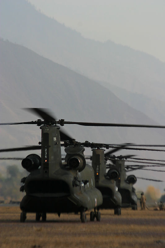 The Chinooks get hot- refueled with the rotors turning.  There was no time lost.