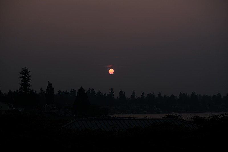 sunset during the summer fires