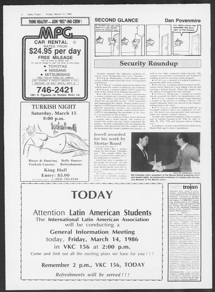 Daily Trojan, Vol. 100, No. 44, March 14, 1986