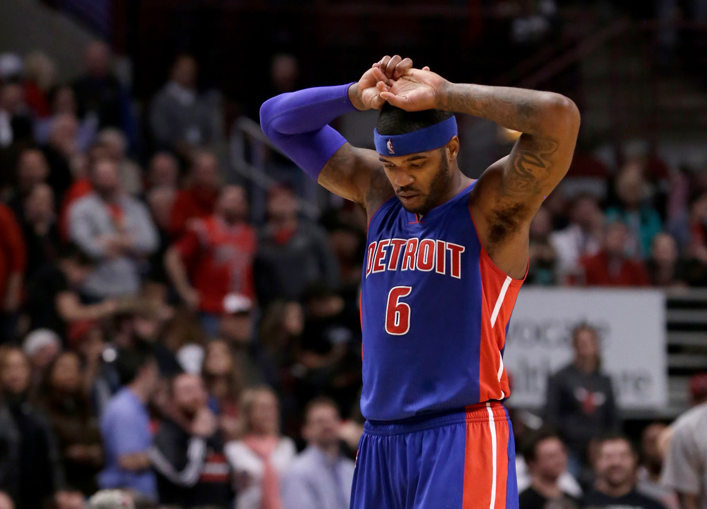 . Detroit Pistons forward Josh Smith (6) walks down the court during the final seconds of an NBA basketball game and 102-91 Piston loss to the Chicago Bulls Monday, Nov. 10, 2014, in Chicago. (AP Photo/Charles Rex Arbogast)