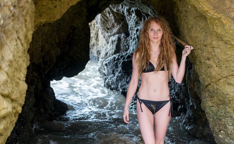 Swimsuit Bikini Model with Blonde Dreadlocks in Sea Cave !