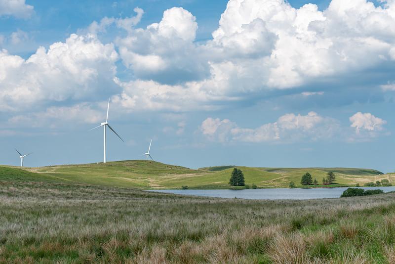 Scottish Reneweables with Wind Turbines on a Renfrewshire Hillside in Scotland.