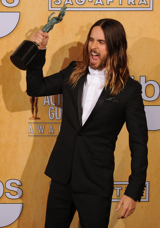 . Jared Leto backstage at the 20th Annual Screen Actors Guild Awards  at the Shrine Auditorium in Los Angeles, California on Saturday January 18, 2014 (Photo by John McCoy / Los Angeles Daily News)
