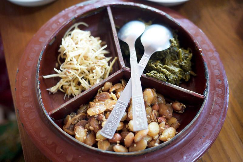 Tea leaf salad in Bagan, Burma (Myanmar)