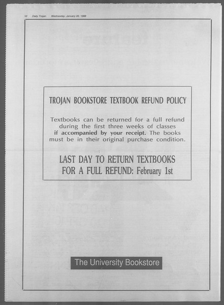 Daily Trojan, Vol. 106, No. 7, January 20, 1988