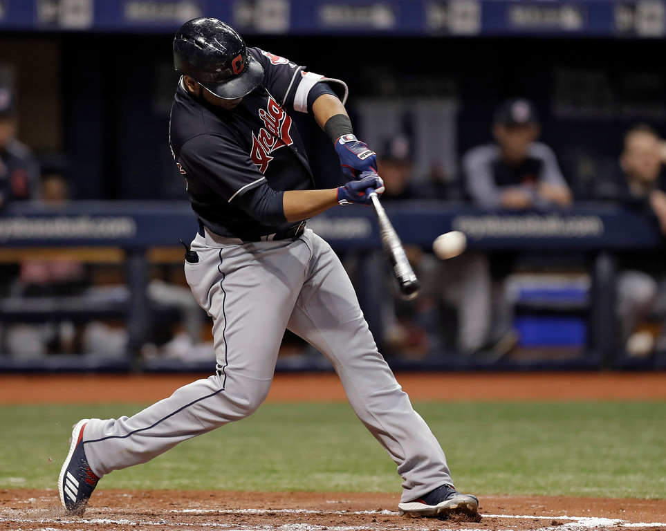 . Cleveland Indians\' Edwin Encarnacion doubles off Tampa Bay Rays pitcher Tyler Glasnow during the fourth inning of a baseball game Tuesday, Sept. 11, 2018, in St. Petersburg, Fla. (AP Photo/Chris O\'Meara)
