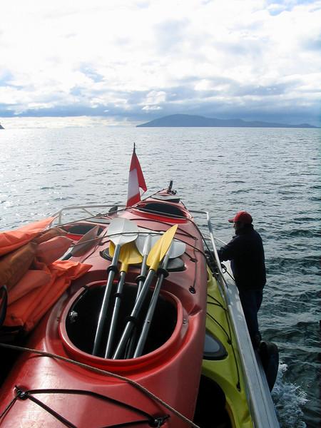 At sea.