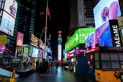 New York, NY - March 17:  Times Square area with very few tourists, New York, USA.