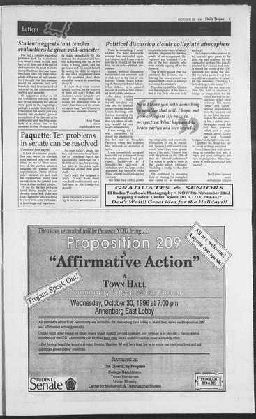 Daily Trojan, Vol. 129, No. 42, October 28, 1996