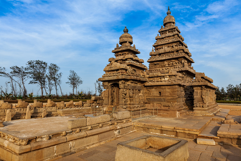 Shore temple - World  heritage site in  Mahabalipuram, Tamil Nadu, India