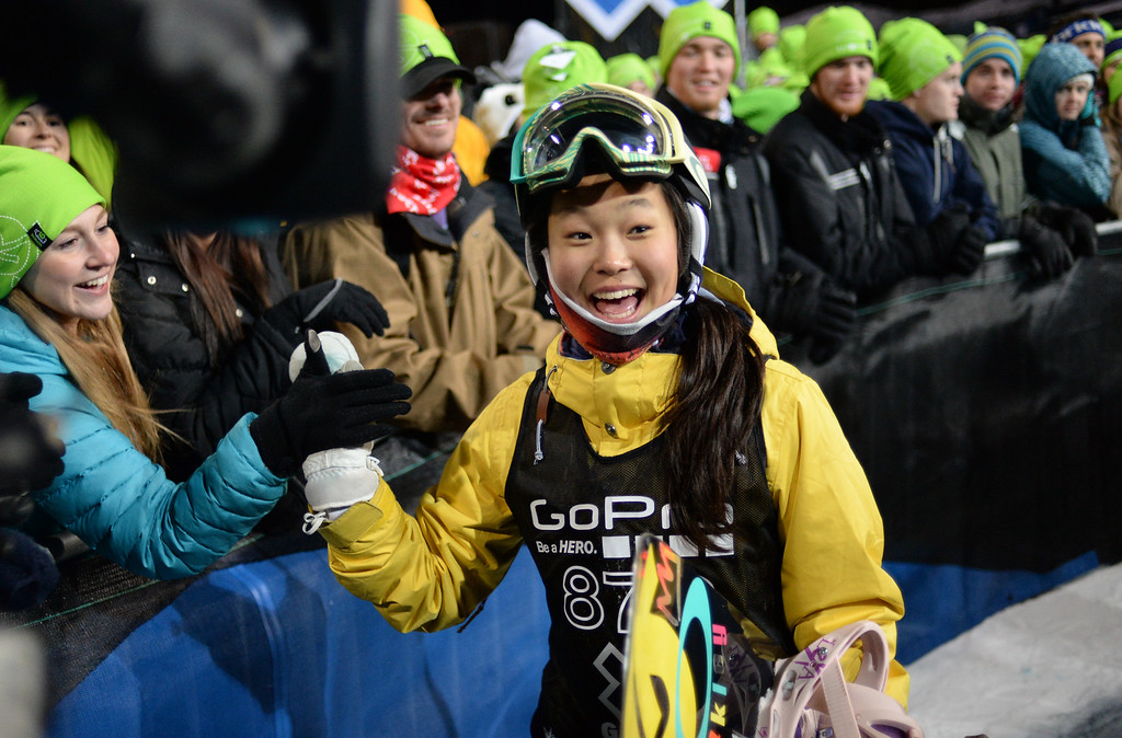 . Chloe Kim at the young age of 13 wins silver during the Women\'s Snowboard SuperPipe Finals at the Winter X Games in Aspen, January, 25 2014. The X Games will continue to be in Aspen at Buttermilk Mountain through 2019. (Photo by RJ Sangosti/The Denver Post)