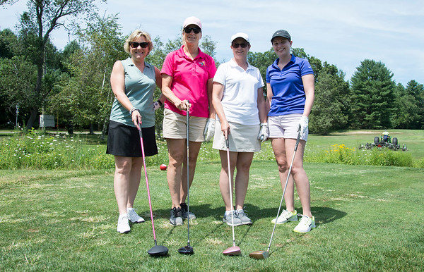 08/05/19 Wesley Bunnell | Staff Susan Sadecki, L, Coral Richardson, Dawn Nielsen and Katie Nielsen just prior to teeing off at the start of the women's 9 hole portion of the Bristol Chamber of Commerce's annual golf tournament at Tunxis Country Club on Monday afternoon.