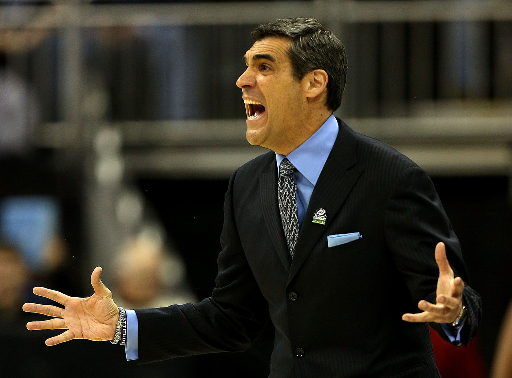 . KANSAS CITY, MO - MARCH 22: Head coach Jay Wright of the Villanova Wildcats reacts in the first half against the North Carolina Tar Heels during the second round of the 2013 NCAA Men\'s Basketball Tournament at the Sprint Center on March 22, 2013 in Kansas City, Missouri.  (Photo by Ed Zurga/Getty Images)