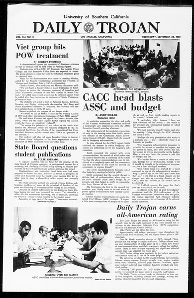 Daily Trojan, Vol. 61, No. 8, September 24, 1969