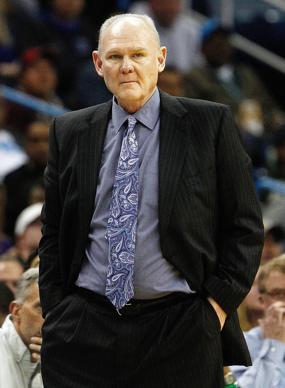 . Denver Nuggets head coach George Karl watches the action from the sidelines in the second half of an NBA basketball game against the New Orleans Hornets  in New Orleans, Monday, March 25, 2013. The Hornets won 110-86. (AP Photo/Bill Haber)