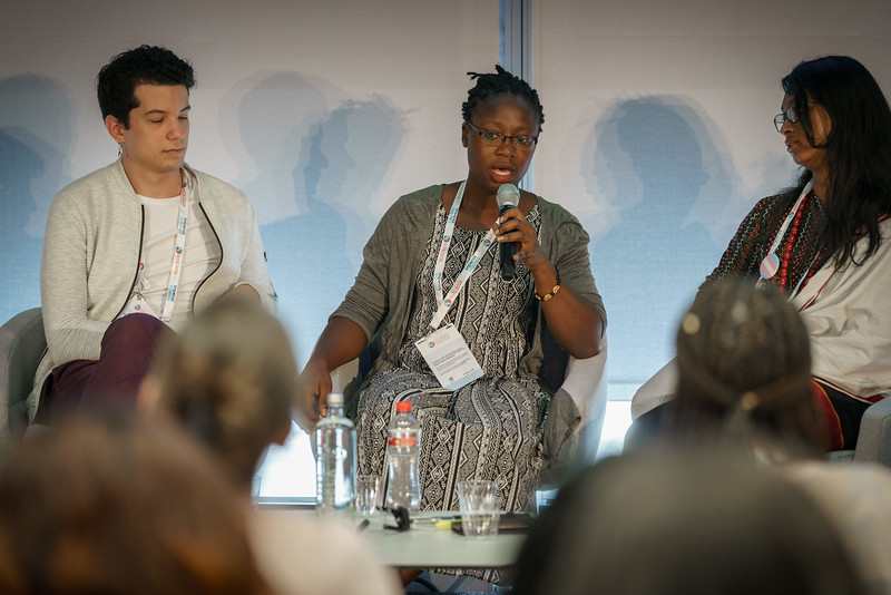 22nd International AIDS Conference (AIDS 2018) Amsterdam, Netherlands.   Copyright: Matthijs Immink/IAS  Integration in Practice: First-Hand Accounts from Clients and Health Care Providers   Photo shows (panel left to right):  Matias Horacio Barreda, J+ LAC & ATC, Argentina  Robinah Babirye, African Young Positives Network, Uganda  Rukshana Kapali, Youth LEAD, Nepal