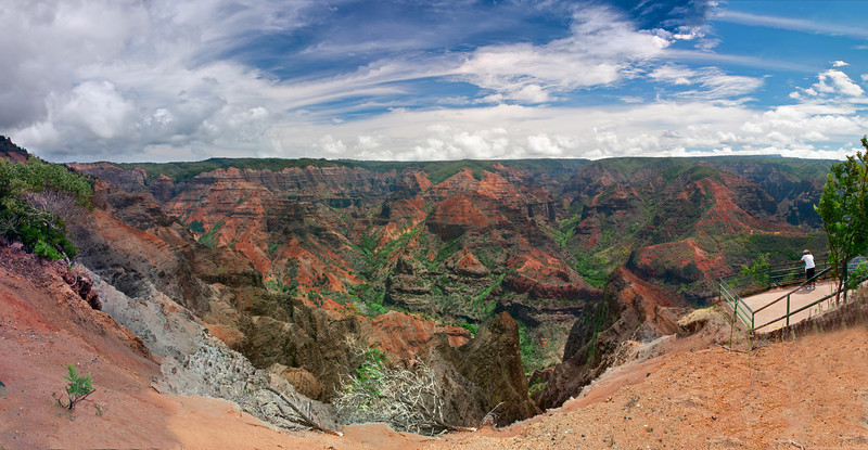"Hailed as the ""Grand Canyon of the Pacific"", Waimea Canyon was formed over many many many years of water erosion on Lava Rock. We stopped at the Waimea Canyon Lookout and I took this 12 shot panorama."
