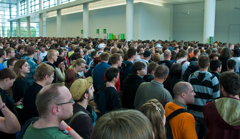People at the entrance to GamesCom