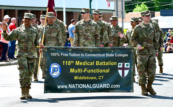 5/25/2019 Mike Orazzi | Staff The 118th Medical Battalion of the Connecticut National Guard during the annual Newington Memorial Day parade on Saturday.
