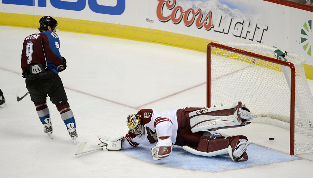 . DENVER, CO. - FEBRUARY 11: Matt Duchene (9) of the Colorado Avalanche scores on G Mike Smith (41) of the Phoenix Coyotes in the second period February 11, 2013 at Pepsi Center.(Photo By John Leyba/The Denver Post)