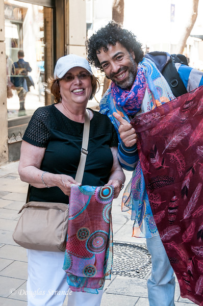 Barcelona: Would you buy a scarf from this guy?