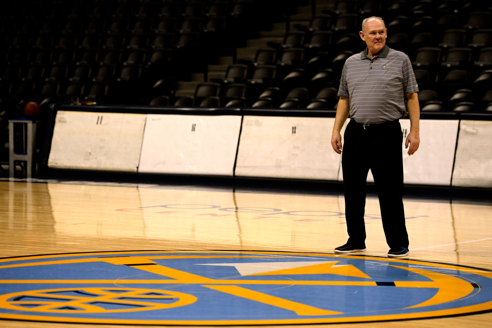 . The Denver Nuggets George Karl after a game day shoot around at the Pepsi Center March 29, 2013 in Denver, Colorado. (Photo By Joe Amon/The Denver Post)