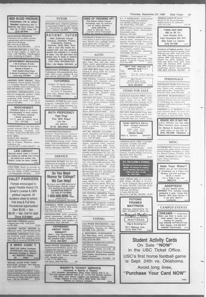 Daily Trojan, Vol. 107, No. 12, September 22, 1988