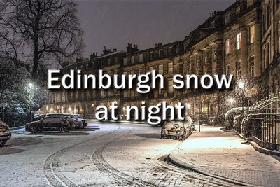 Edinburgh snow at night