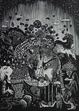 """Dreamworld NO.2"" (woodcut print) by Chunming Yuan"