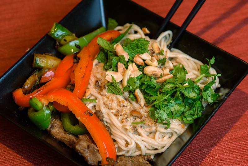 Sichuan Dan Dan Noodles with wok-fried beef and veggies