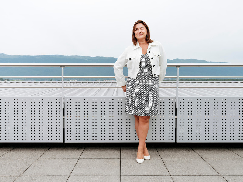Fabienne Lupo on the roof terrace of the Fondation de la Haute Horlogerie, Meyrin, Switzerland - Samuel Zeller for The New York Times