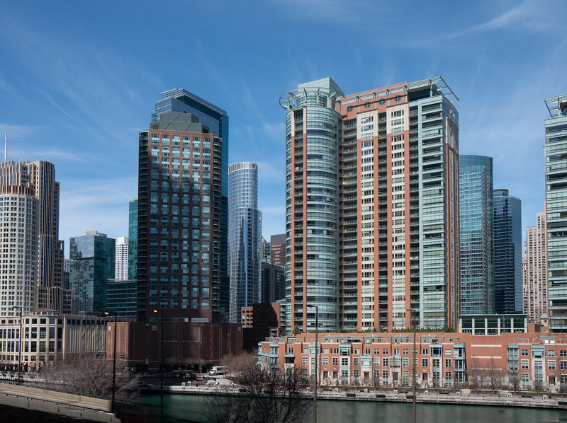 Buildings overshadow the Chicago River.