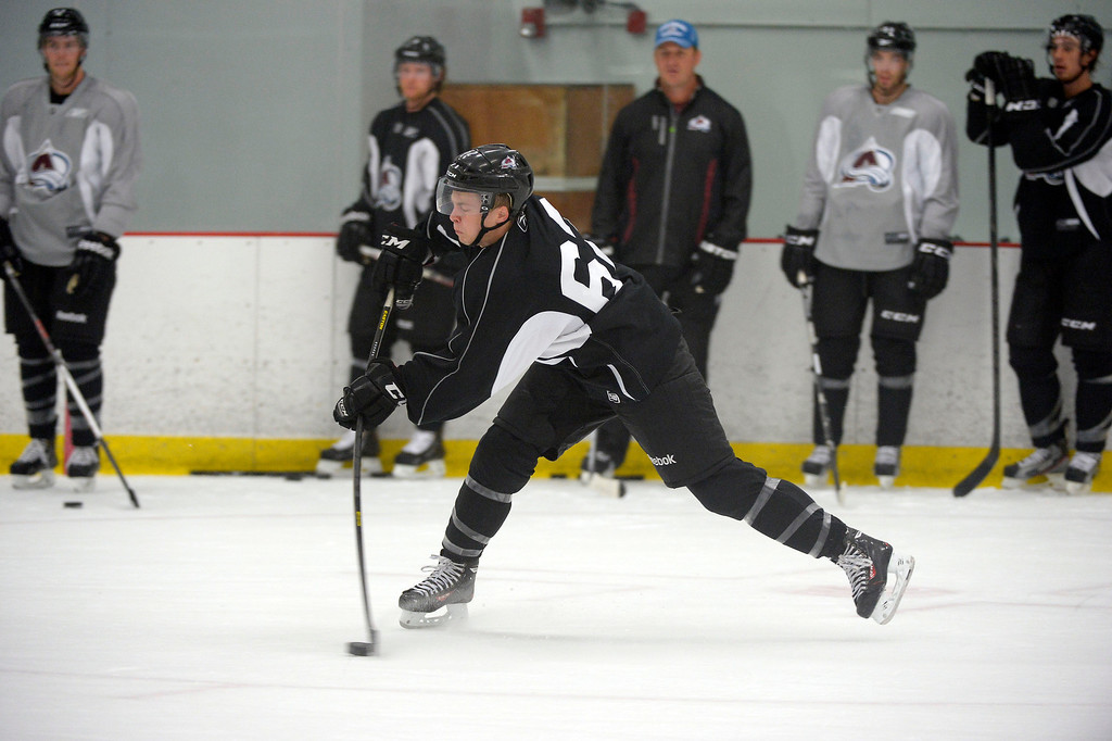 . Colorado Avalanche Troy Bourke (62) takes a shot during the second day of rookie Camp practice September 9, 2013 at Family Sports Ice Arena. (Photo By John Leyba/The Denver Post)