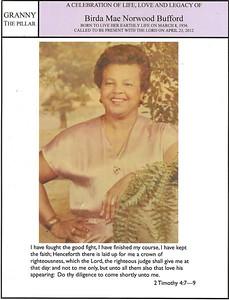 A Celebration of Life Love & Legacy of Brida Mae Bufford April 28, 2012