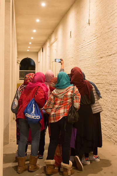 With their headscarves in place, the girls do a group selfie before heading inside. -- Beth El 8th grade Upper School students visited the Islamic Center mosque in Rockville, Feb 21, 2017